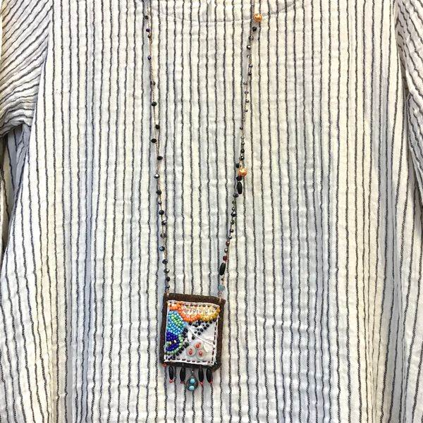Flower Textile Art Necklace