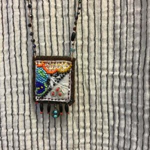 Flower Textile Art Necklace