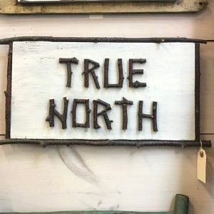 True North rustic twig sign